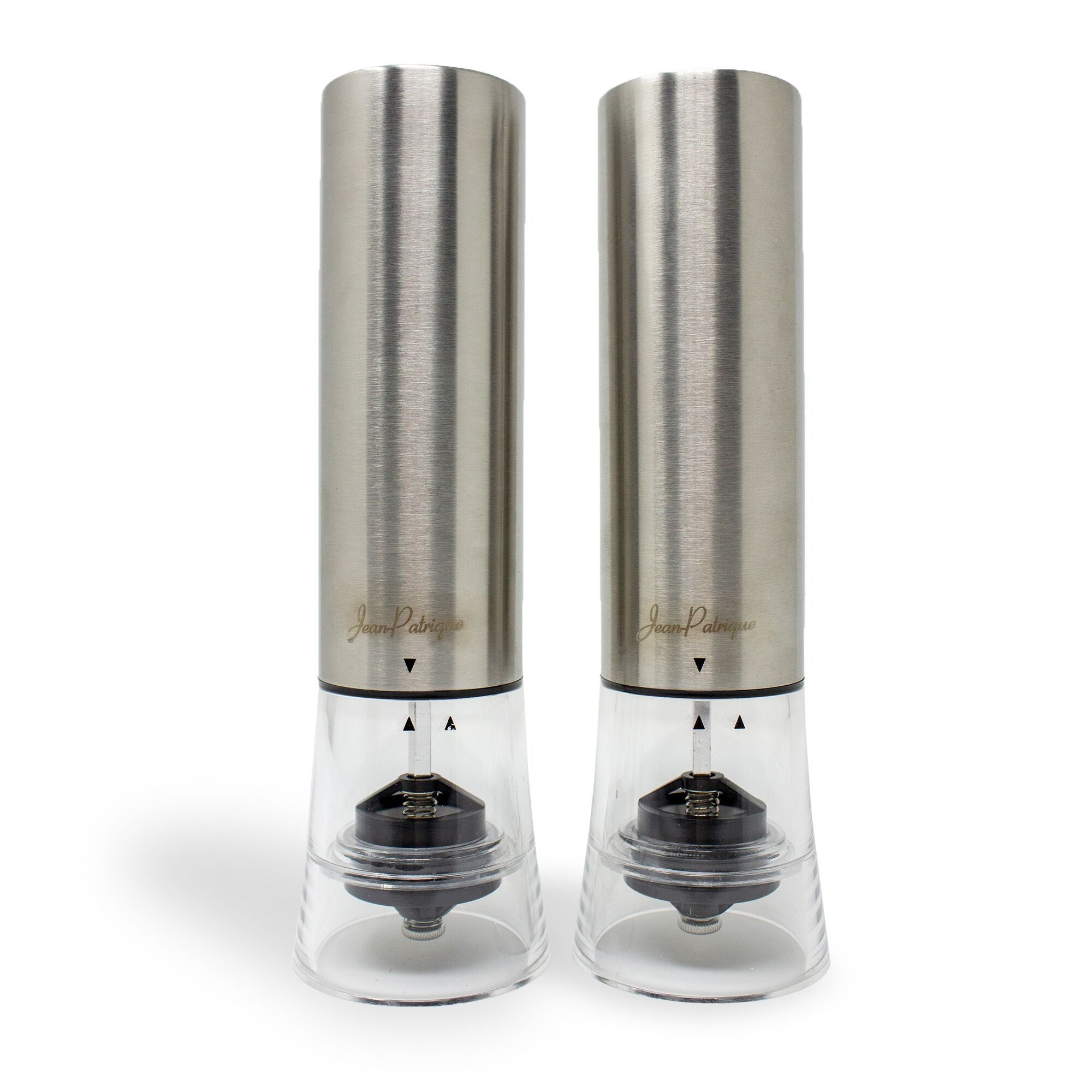 'One-Touch' Stainless Steel Electronic Salt and Pepper Mill Set