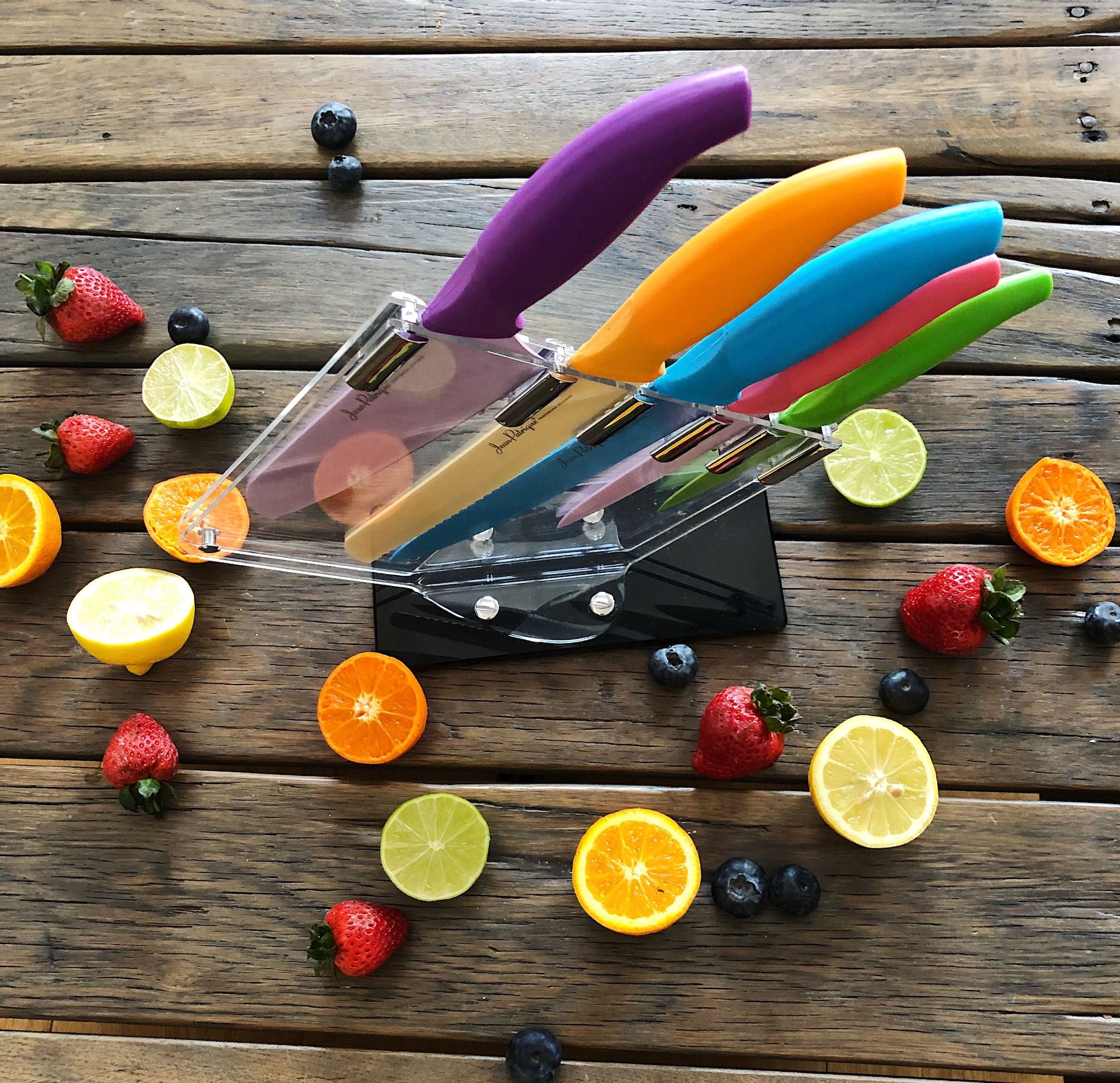 5-Piece Vibrant Collection Knife Set and 5-Slot Perspex Block