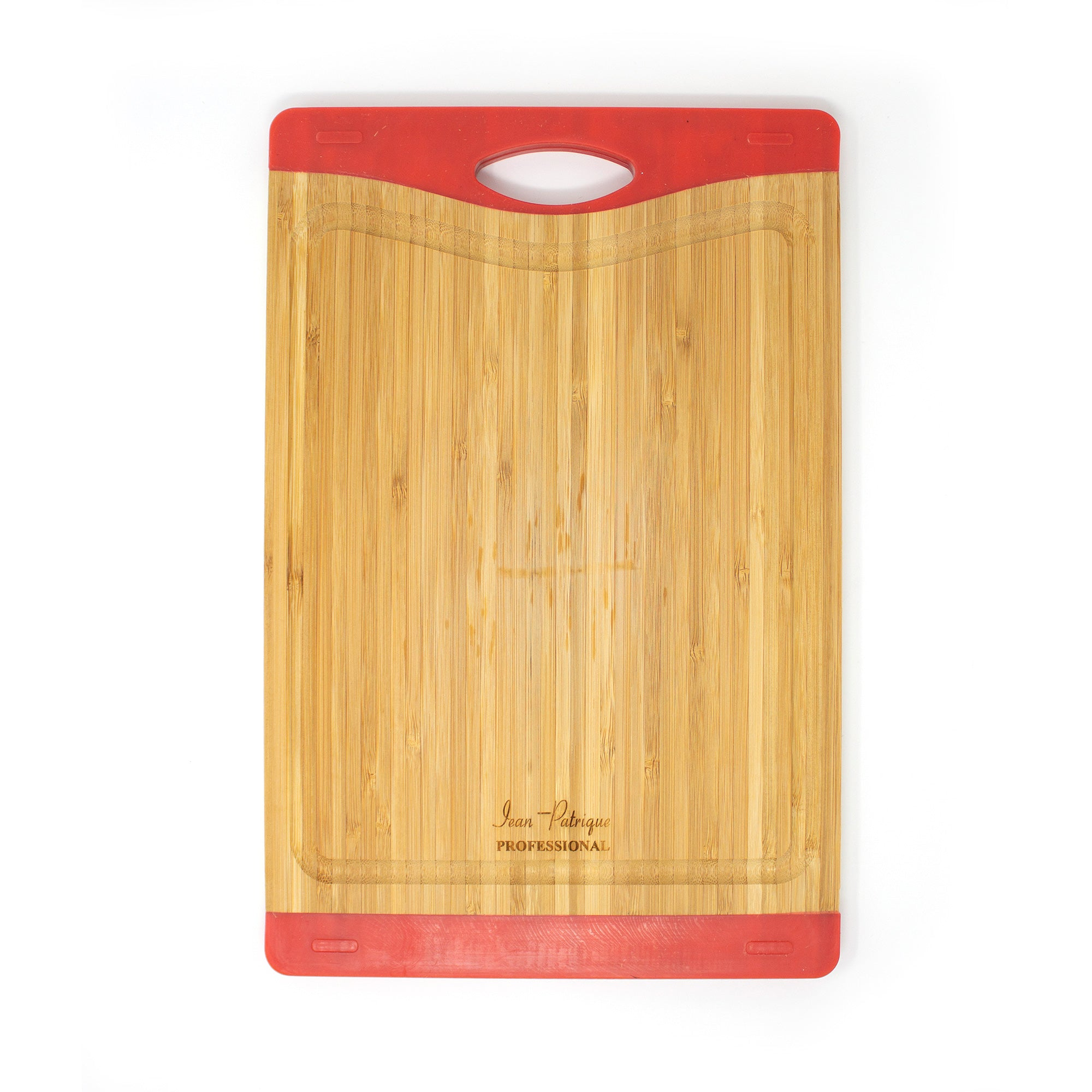 Bamboo Chopping Board with Silicone Ends - Medium (Red)