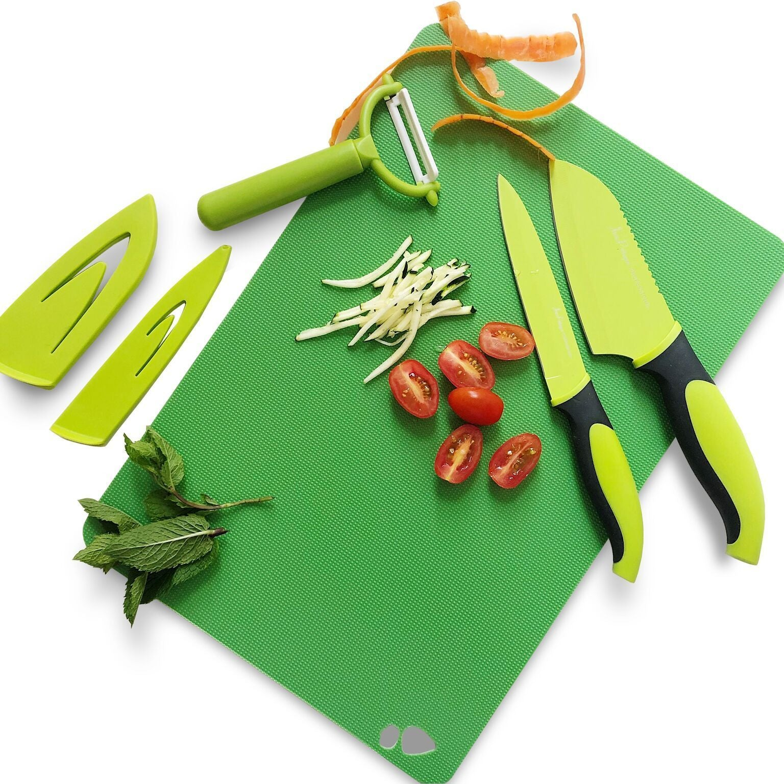 3 Piece Chef's Non-Stick Green & Black Prep Set