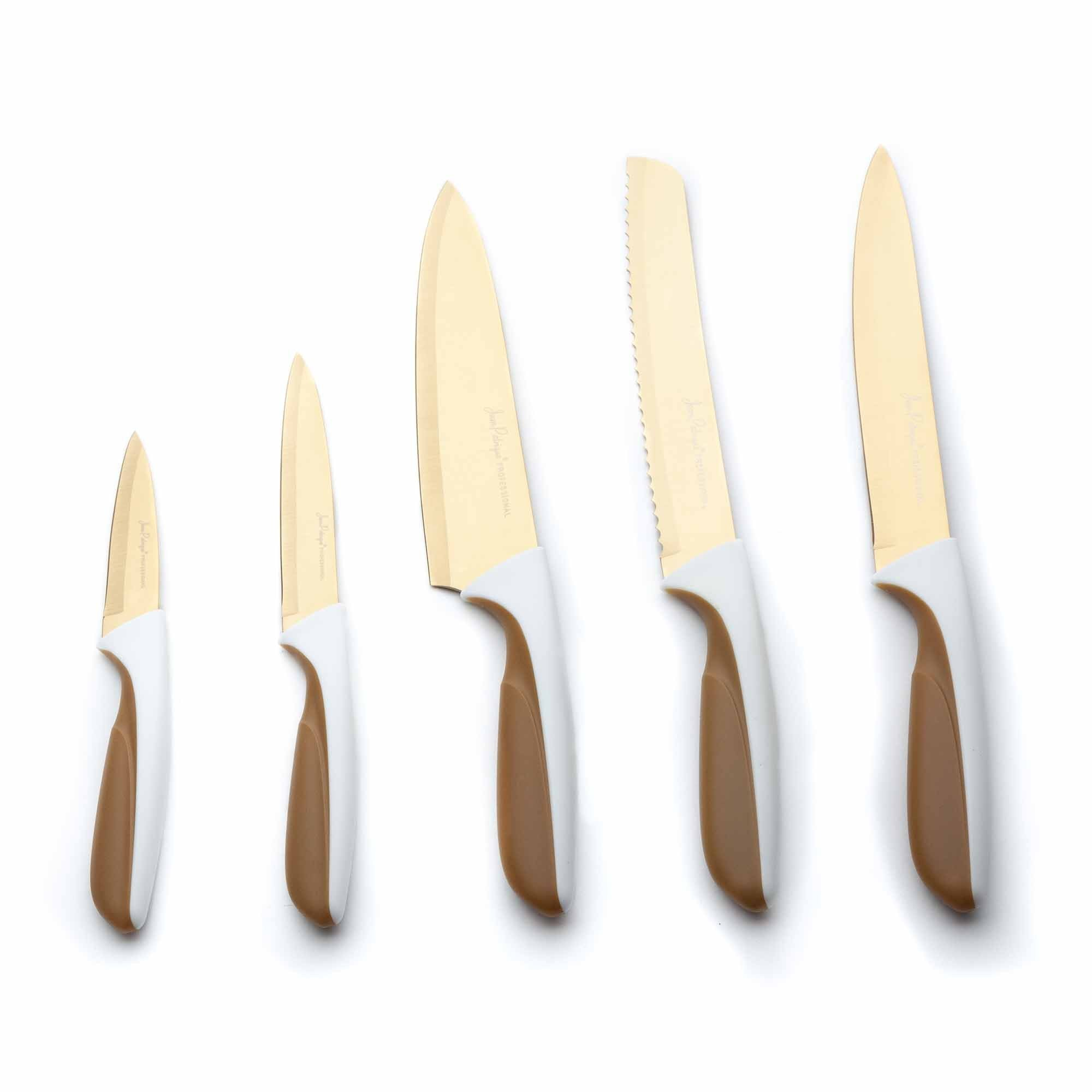 5-Piece Titanium Knife Set - White/Gold Handles