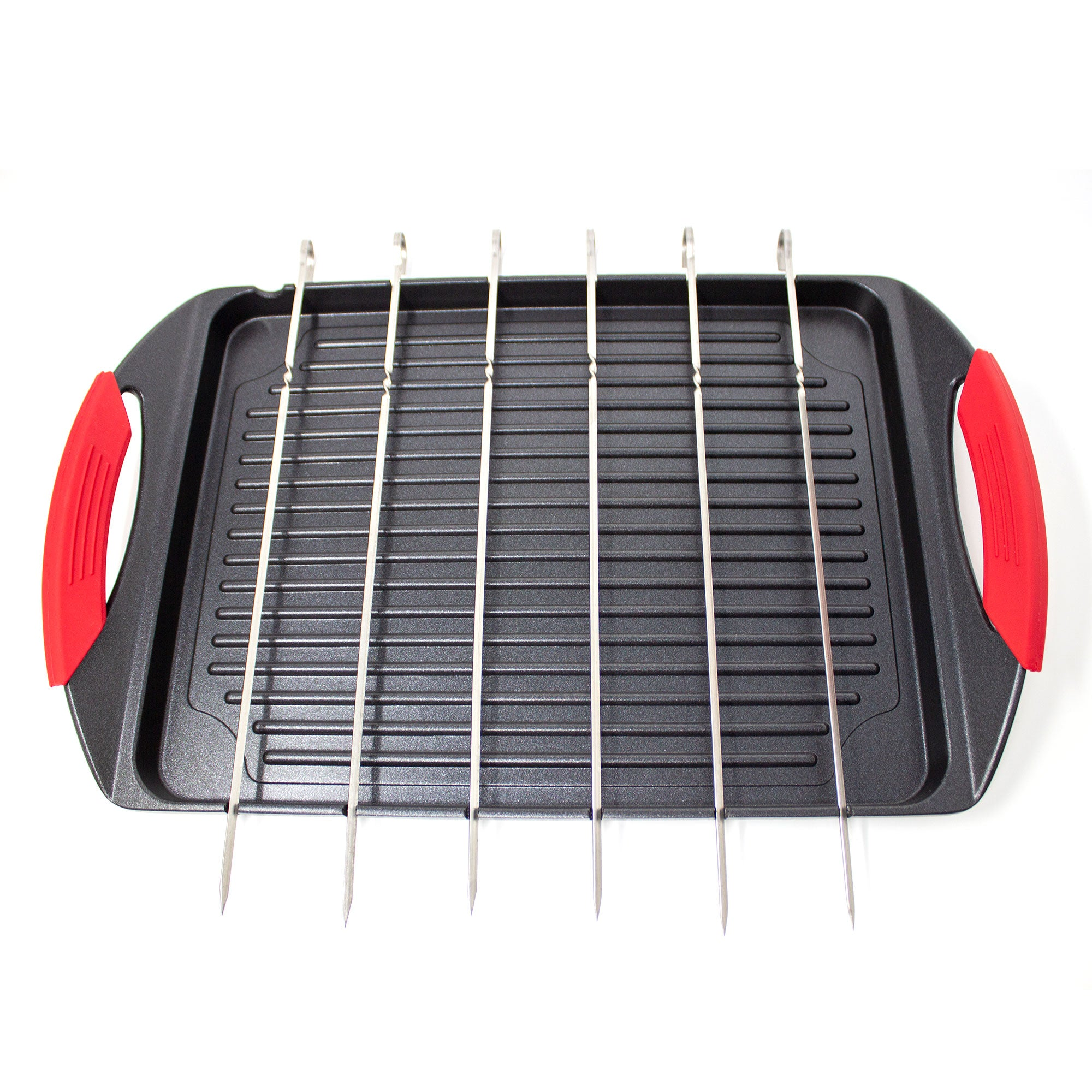 "The ""Griddle Me This"" Cast Aluminium Griddle Plate & 6 Stainless Steel Skewers"