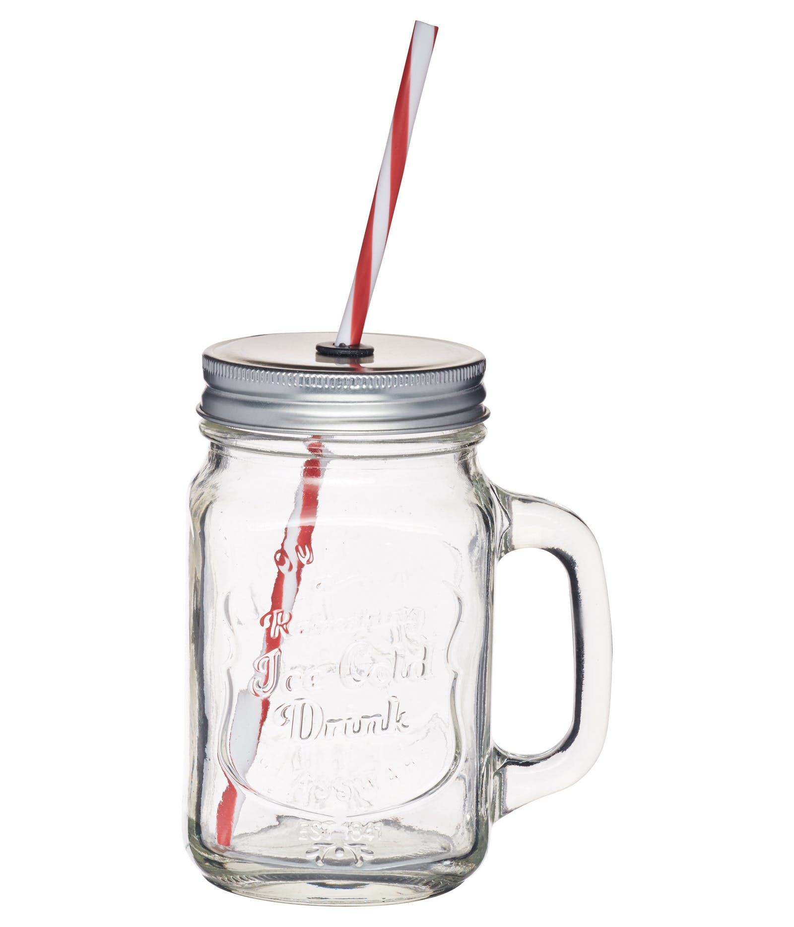 Clear Glass Drinks Jar with Straw