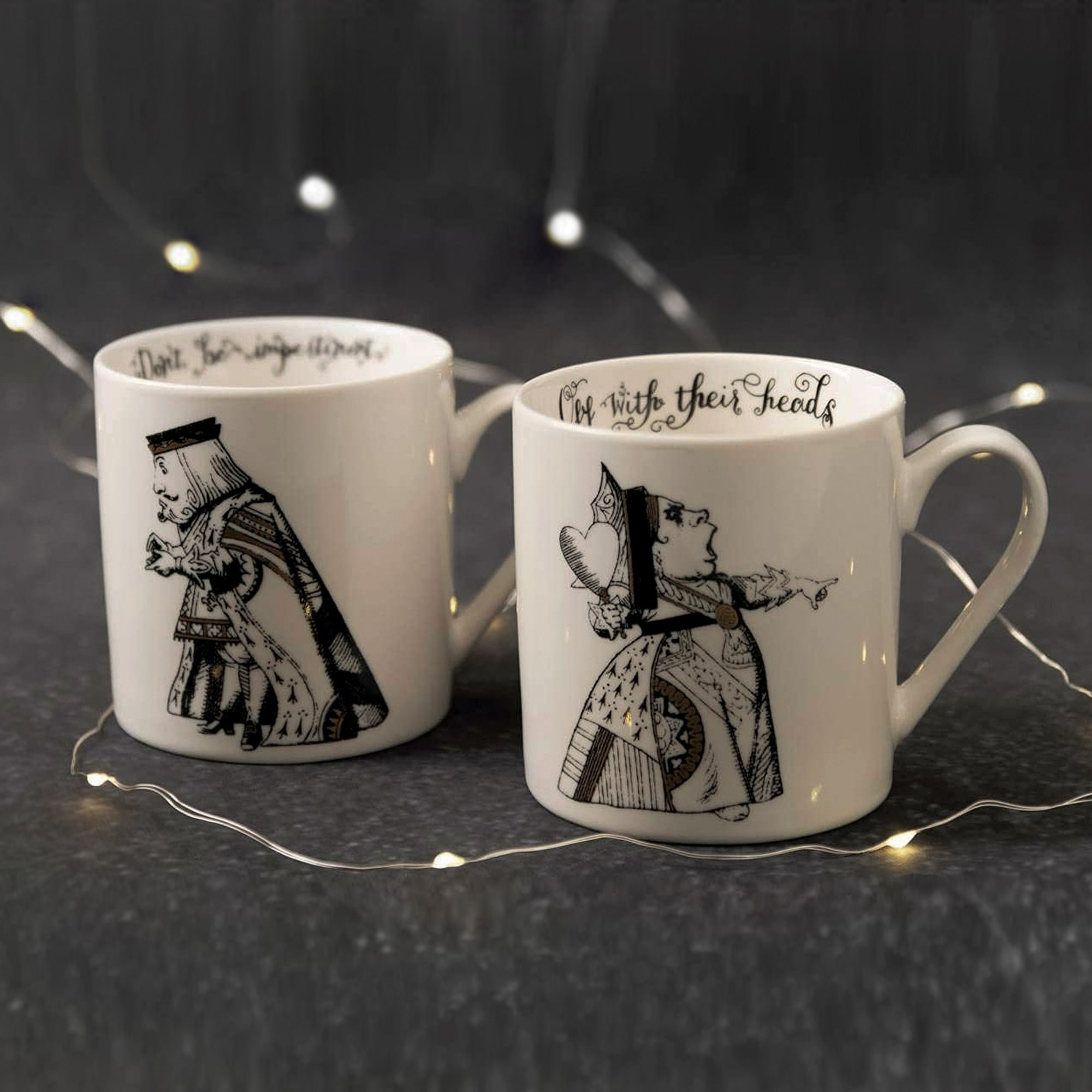 Alice in Wonderland King and Queen of Hearts Mug Set