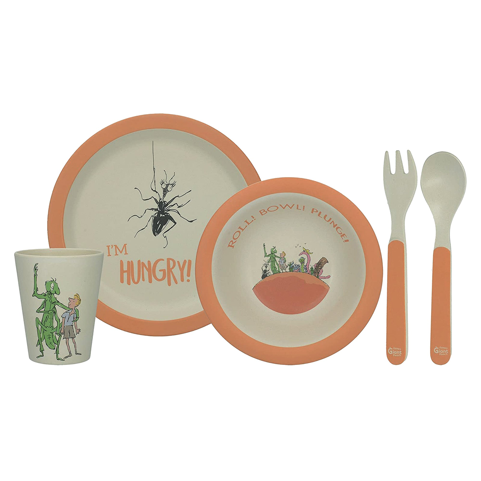 Children's Bamboo Wood 5pce Dinner Set - James & The Giant Peach