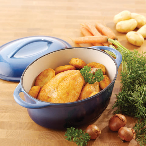Provencal Blue Cast Iron Oval Roaster