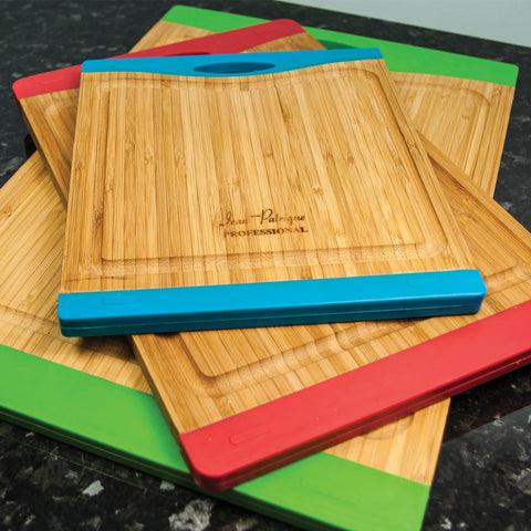 Bamboo Chopping Boards with Silicon Ends - Medium (red)