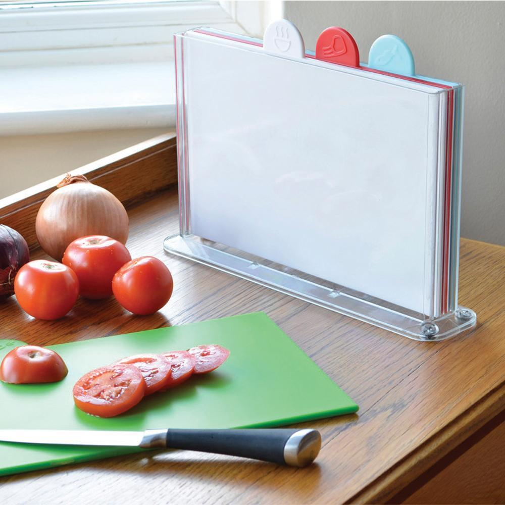 4-Piece Colour-Coded Chopping Boards - Perspex