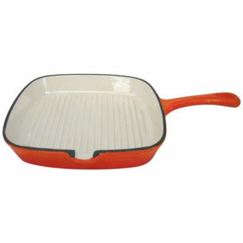 24cm Cast Iron Grill Pan - Orange