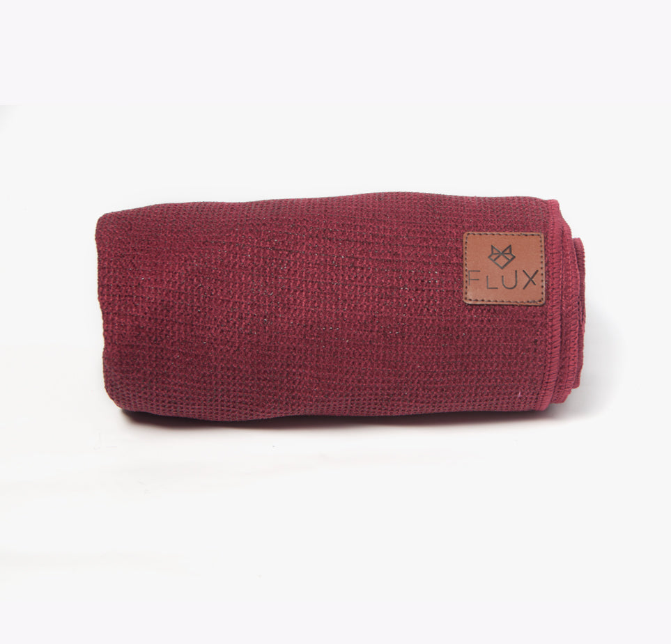 Shiftproof Yoga Mat Towel - Crimson - Flux Movement