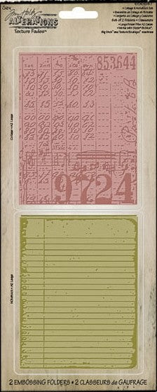 Tim Holtz Texture Fades Embossing Folders Set Collage & Notebook