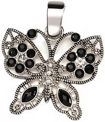 Silver and Black Rhinestone Butterfly Pendant