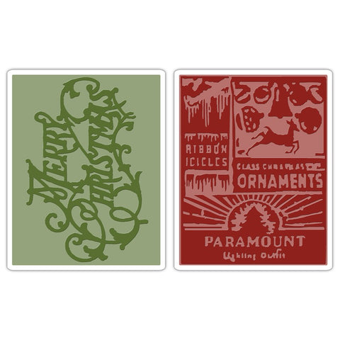 Texture Fades Merry Christmas & Vintage Holiday Embossing Folders