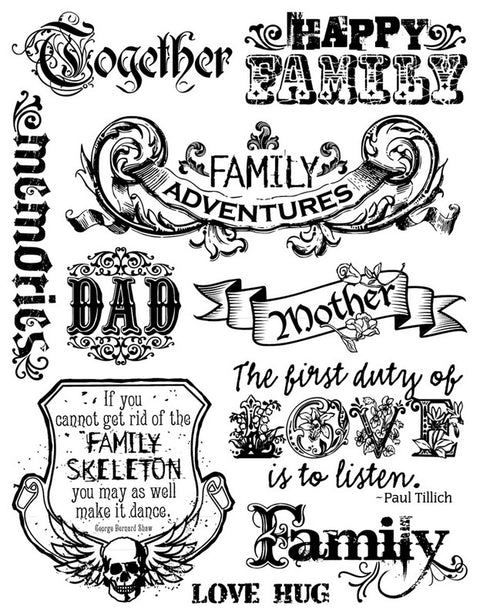 7gypsies Ink Family Clear Stamp Set