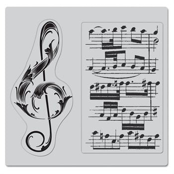 Hero Arts Clings Musical Clef Stamps