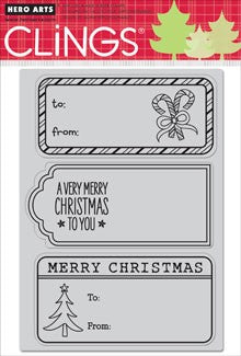 Hero Arts Clings Christmas Tags Stamps