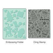 Sizzix Merry Background Stamp & Folder Set