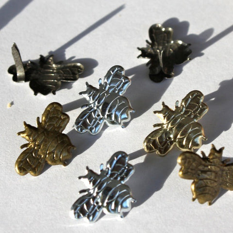 4 Silver & Gold Bee Brads