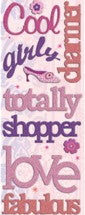 K & Co Sparkly Sweet Girly Chipboard Words