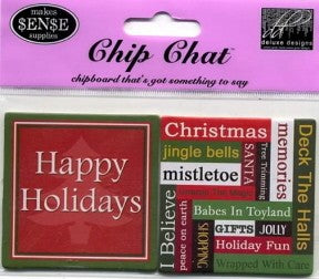 Chipboard Chip Chat Happy Holidays