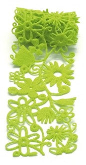 Felt Fusion Floral Ribbon Green 2.7 inch wide