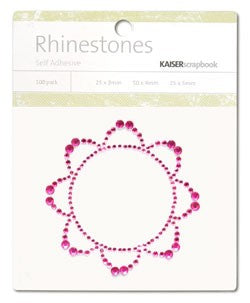 Rhinestones Retro Flower Hot Pink