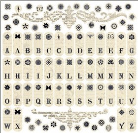 Antique Cream Tab ABC 12x12 Sticker Sheet
