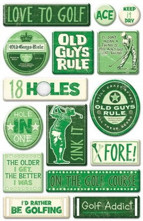 Old Guys Golf Epoxy Stickers