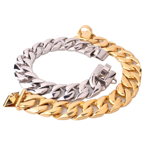 24/31MM Heavy Silver Gold Black Stainless Steel Slip Metal Dogs Training Choke Chain Collar Choker For Large Dog Pitbull Bulldog