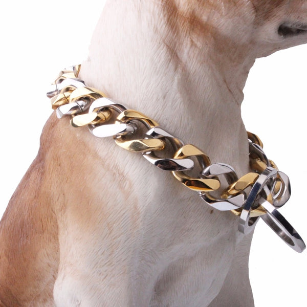 19mm Silver Gold High-Quality 316L Stainless Steel Curb Cuban Dog Chain Collar Training Choke Pet Dog Slip Chain Collars 12-32""