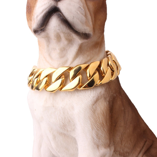 "24mm 18""-26"" Exaggerated Extra-coarse 316L Stainless Steel Gold silver Cuban Pet Dog Chain Necklaces Collars Choker Necklace"