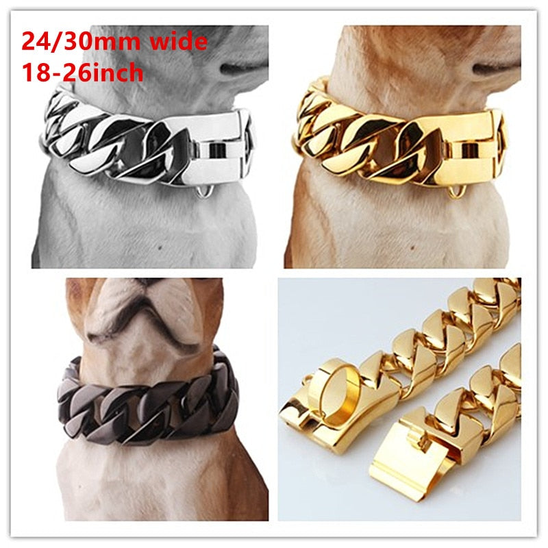 Granny Chic Exaggerated Extra-coarse 316L Stainless Steel Silver Gold Black Cuban Large Pet Dog Chain Necklace Collars Choker
