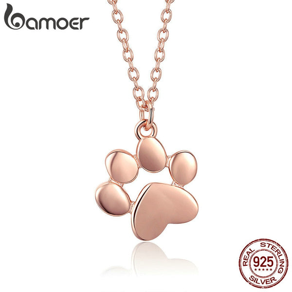 BAMOER 925 Sterling Silver Rose Gold Color Animal Footprints Dog Cat Footprints Paw Necklaces Pendants Women Jewelry SCN275