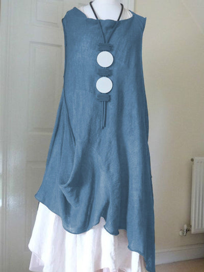 Vintage Crew Neck Sleeveless Asymmetric Linen Shirt