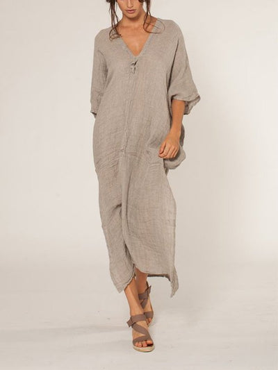 Casual V Neck 3/4 Sleeve Solid Bat Sleeve Maxi Dress