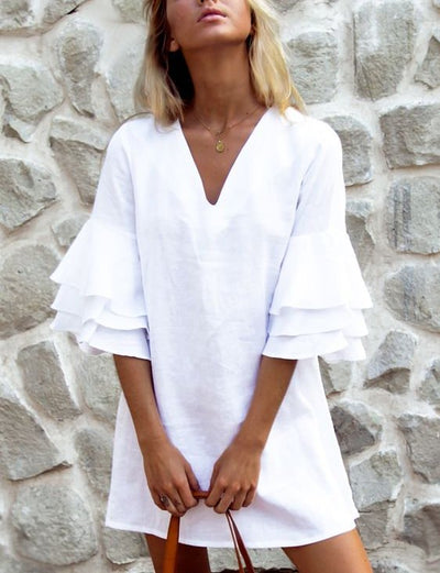 White Solid Half Sleeve Dresses