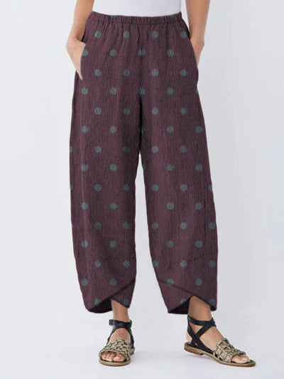 Casual Polka Dots Women Pockets All Season Pants