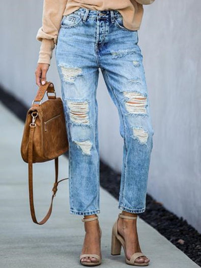Lightblue Denim Casual Pants