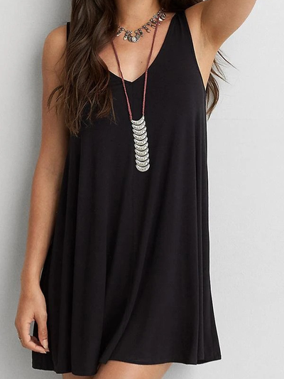 Spaghetti Strap  Backless Cutout  Hollow Out Plain Casual Dresses