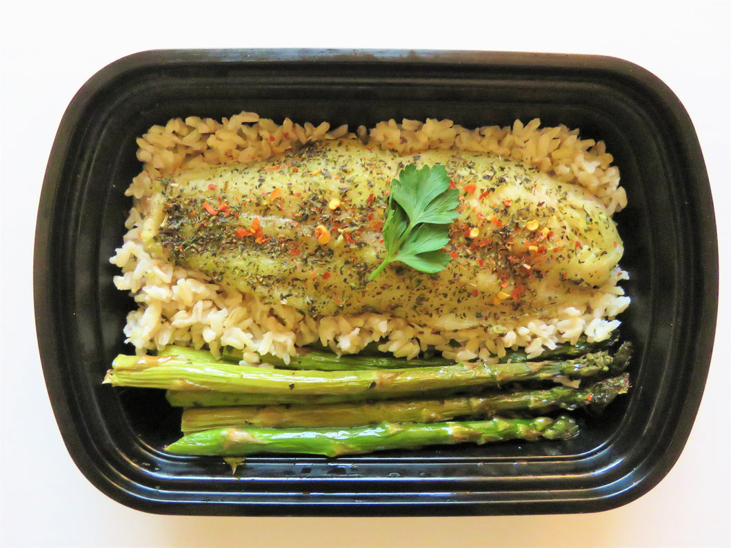 Oven Baked Basa Fillet with Brown Rice and Asparagus - GreenMeal Inc.