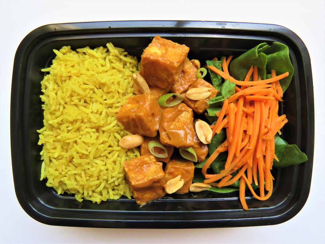 Peanut Marinated Tofu with Curry Rice