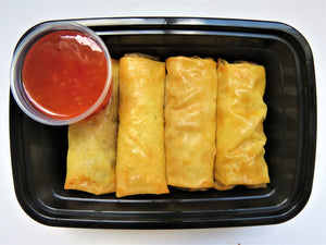 Guilt-free spring rolls with ground beef, cabbage, carrot, and onion filling and served with sweet and spicy sauce!