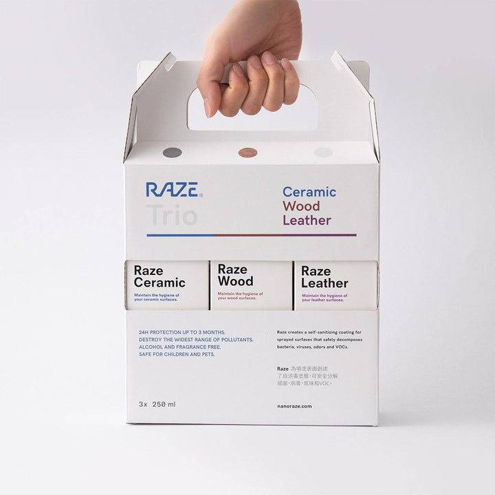 Raze Trio, Raze Wood, Raze Leather, Raze Ceramic, Photocatalyst spray, household disinfectant, hygiene solution