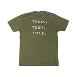 TRAIN. TEST. TITLE. Performance Shirt with Color Logo