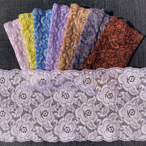 "Stretch Lace #260 - 5.5"" Flower Festival Dye to Match Lace"