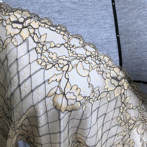 "Stretch Lace #250 - 8"" Warm Beige with Black Cording"