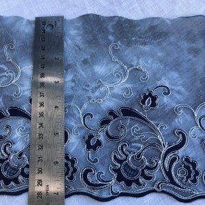 "Tulle Lace 102 - 7 1/2"" Navy and Cream Embroidery"