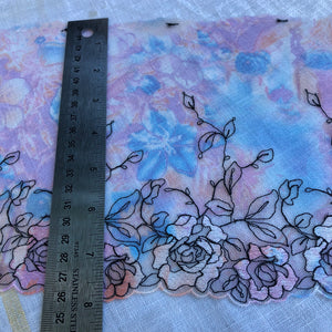 "Tulle Lace 105 - 7 1/4"" Pink Printed Sparkle Embroidery"