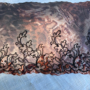 "Tulle Lace 103 - 7 1/2"" Brown Animal Print Embroidered Tulle"