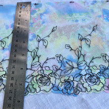 "Load image into Gallery viewer, Tulle Lace 104 - 7 1/4"" Green Printed Sparkle Embroidery"